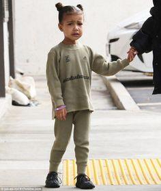 What a cutie pie: Her eldest child wore her dad's Adidas Calabasas label; the toddler rock...