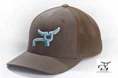 Flexfit Brown Cap with Teal RopeSmart Steer   Team roping rodeo hat