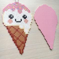 Kawaii ice cream cone hama beads by elisabeth_krogseter