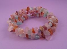 Pink, Blue and White Gemstone Chip Memory Wire Bracelet £12.00