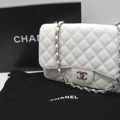 #Chanel sold by #easysaledallas on #ebay for $2500 for a happy client Chanel Sac Class Rabat - White Quilt Leather