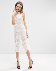 ASOS Lace Collar Geo Lattice Midi Dress