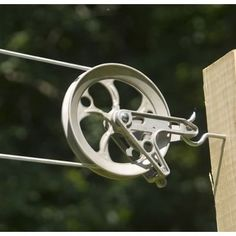 Old school Amish-style pulley clothesline for the backyard.