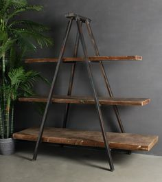 Whether your style is Manhattan Loft or rustic country, our Industrial Tripod Bookcase has the casual charm to blend seamlessly with a range of looks. Featuring an industrial style metal frame and timber shelves it can function as book shelves, or generou Industrial Design Furniture, Industrial Living, Industrial Shelving, Rustic Furniture, Furniture Design, Kitchen Industrial, Industrial Pipe, Industrial Office, Industrial Decorating