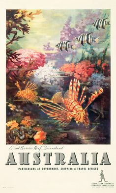 'Great Barrier Reef' vintage Australian advertising poster, by James Northfield – reproduced under license by Australian Vintage Posters Brisbane, Melbourne, Retro Poster, Vintage Art Prints, Vintage Travel Posters, 1950s Posters, Party Vintage, Retro Vintage, Posters Australia