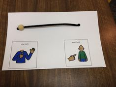 Turn taking visual for use with a table-top task. Slide the bead from side to side to show whose turn.