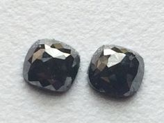 Black Rose Cut Diamond Matched Pair Cushion Cut by gemsforjewels