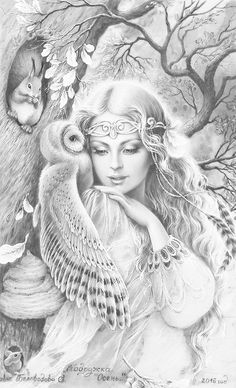 Whispers of an Owl artist Brigid Ashwood Fairy Coloring Pages, Adult Coloring Book Pages, Coloring Books, Girl Drawing Sketches, Pencil Art Drawings, Black And White Sketches, Fairy Art, Tattoo Studio, Amazing Art