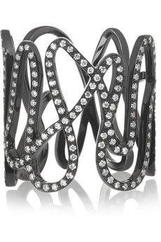 Repossi White Noise 18-karat black gold-washed diamond ring   NET-A-PORTER