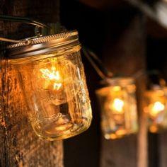 Mason jars + lights. So cute!