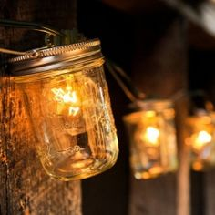 Mason jars + lights. So cute!