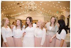 Bride with friends at Castle Park LDS wedding reception by Utah wedding photographer Brooke Bakken | LDS Bride and Groom | Modest Wedding Dress | Blush | Cream