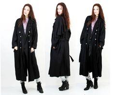 Black Trench Coat / Black Coat / Goth Coat / Double Breasted Jacket / Maxi Coat / Belted Jacket / XXL / XL by Ramaci on Etsy