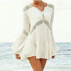 Sweet V-neck long-sleeved beige dress AX5401ax