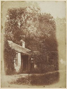 The Lodge at Bonaly Tower, Scotland, with John Henning as Edie Ochiltree. Photography by David Octavius Hill and Robert Adamson, 1846.