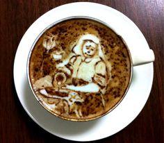 The Milkmaid by Jan Vermeer, coffee art Coffee Crafts, Coffee Art, Kitchen Maid, Milk The Cow, Johannes Vermeer, Types Of Bread, Edible Food, Latte Art, Food Art