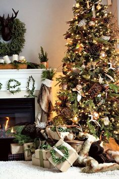 rustic Christmas tree decor with pine cones and evergreeen