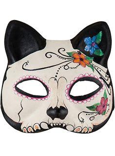 Day of the Dead Sugar Skull Cat Mask $19.00 AT vintagedancer.com #halloween
