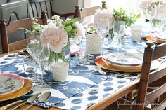 English-Table-Setting & Moody Blue Fall Table with Dried Hydrangeas | Hydrangea Autumn ...