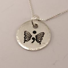Hand Stamped Semi Colon Butterfly Necklace - Semicolon Necklace - Sterling Silver - Project Semicolon