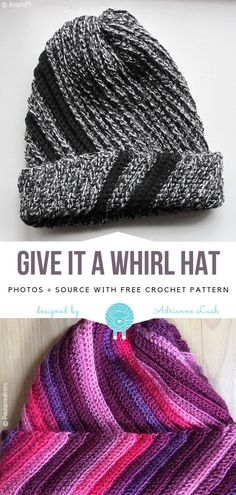 Crochet Hat Give it a Whirl Hat Free Crochet Pattern - Try something different this season and make this unusual hat! Give it a Whirl Hat uses spirals to create very interesting pattern. You can play with the Crochet Animal Hats, Crochet Adult Hat, Crochet Beanie Pattern, Crochet Cap, Newborn Crochet, Free Crochet, Knitted Hats, Crochet Patterns, Hat Patterns