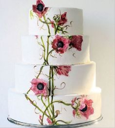 Don't Miss Pre-Wedding Photos You Need On Your Shot-List A four-tiered wedding cake features hand-painted flowers and vines, as well as pink sugar anemones.A four-tiered wedding cake features hand-painted flowers and vines, as well as pink sugar anemones. Fondant Wedding Cakes, Wedding Cupcakes, Fondant Cakes, 3d Cakes, Cake Wedding, Bolo Floral, Floral Cake, Gorgeous Cakes, Pretty Cakes