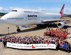 Qantas Boeing 747-438/ER (registered VH-OJQ); Qantas' 100th Boeing aircraft