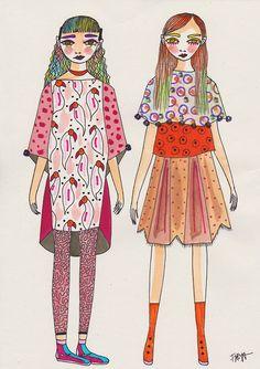 Thursday& Children// Freya Flavell at doodoodloo Yarn Painting, Watercolor Techniques, Funny Things, Fashion Art, Thursday, Illustrator, Princess Zelda, Draw, Teaching