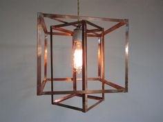 Geometric copper hanging pendant light chandelier