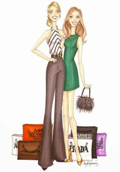 Shopaholics fashion illustration
