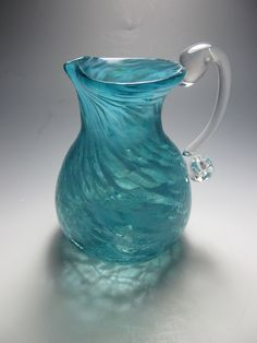 Blown Glass  - Crackle Glass - Pitcher  - Creamer - Handmade Flower Vase Pitcher - Aqua Glass by KennethMarineGlass on Etsy