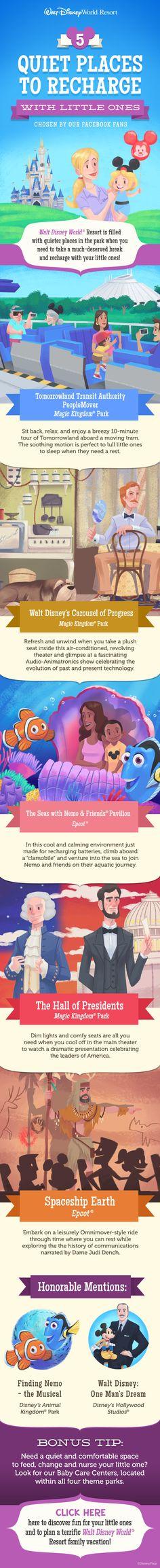 Top 5 Quiet Places to Recharge with Little Ones at Walt Disney World! #prek #DisneyKids
