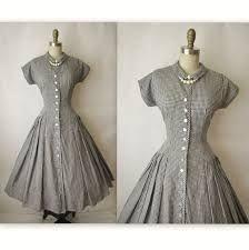 a8538b48fad38 Shirtwaist Dress    Vintage Black   White Gingham Cotton Shirtwaist Garden  Party Dress XS S