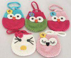 Girl Kids Handmade Crochet Cute Owl /Cat Handbag Purse Wallet Bag B109