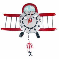 Allen Designs Airplane Jumper Pendulum Wall Clock for sale online Led Wall Clock, Pendulum Wall Clock, Wall Clocks, Traditional Clocks, Clock For Kids, Kids Clocks, Wall Watch, Wooden Keychain, Clocks For Sale