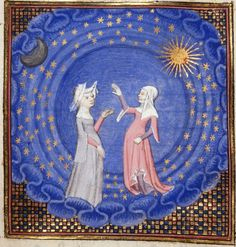 Christine and the Sybil pointing to a ladder from the heavens, from the Book of the Queen, France (Paris), c. 1410-1414