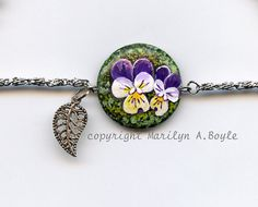 SOLD- JEWELRY  ANKLET  STONE Hand Painted original by OriginalSandMore