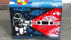 Brighton street-art / graffiti: By local street artist Cassette Lord (Martin Middleton of the Artscape Project) graffiti on a BT junction box