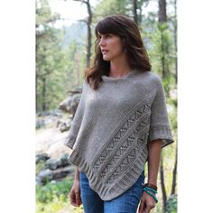 """Knit while traveling through South Dakota and Colorado. High Plains is a poncho with texture and details that come together to showcase effortless, relaxed style.2 sizes available S/M and L/XL with finished measurements laid flat: 32(34)""""/81(86.25)cm at widest point, 22(24)""""/56(60)cm from neckline to hem.Poncho is knit in 2 pieces and seamed together.Sample is shown in size L/XL using Cascade Yarns 220 Heathers, Doeskin color."""