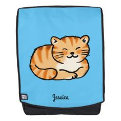cute fluffy ginger and white cat (add name) backpack