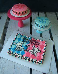 lil' rebel lil' angel twins boy girl birthday cake smash cakes - www.facebook.com/blovestobake