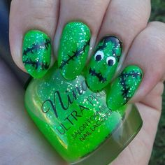 Frankenstein Halloween nail design on my long natural stiletto almond nails