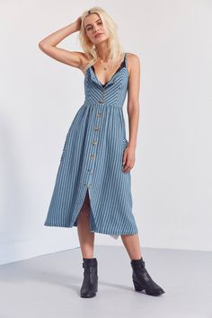 Cooperative Emilia Printed Linen Button-Down Midi Dress | Urban Outfitters