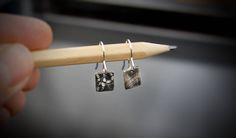 Silver small square drop earrings with cloth and cog oxidized texture- inspired by Belper North Mill - Hand forged by Adamson Jewellery Slave Bracelet, Neo Victorian, Cogs, Statement Rings, Anklet, Chokers, Drop Earrings, Texture, Jewellery