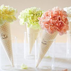 ~ Idea to wrap flowers for a gift ~ Clip-Art Carnation Cones by Martha Stewart Living