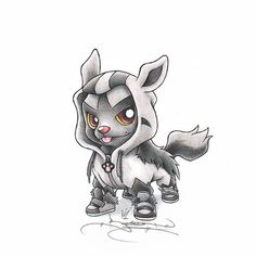 """""""When I grow up"""" Poochyena in a Mightyena onesie"""