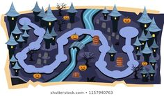 Halloween Games Maps with Path of stage levels and Purple Land Castle, Graveyard, River, Pumpkins with scary tree for Cartoon Vector Illustration Vector Photo, Displaying Collections, Royalty Free Images, Vector Free, Maps, Castle, Stock Photos, Illustration, Game Ui