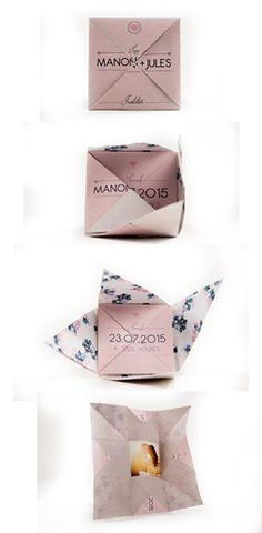 Faire-part original - origami- dépliable et repliable- couleur rose poudré