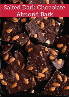 A foolproof recipe for Salted Dark Chocolate Almond Bark, perfect for holiday gifting! Dark Chocolate Almond Bark, Melting Chocolate, Easy Chocolate Desserts, Chocolate Recipes, Almond Bark Recipes, Cocoa, Cookies, Mini Cakes, Gourmet Recipes
