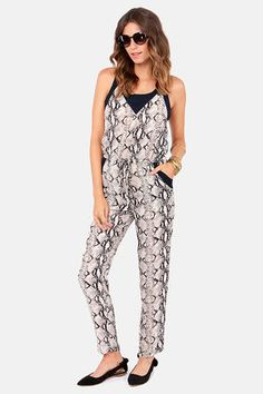 Hiss and Tell Snake Print Jumpsuit {pairs well with black flats and black blazer}